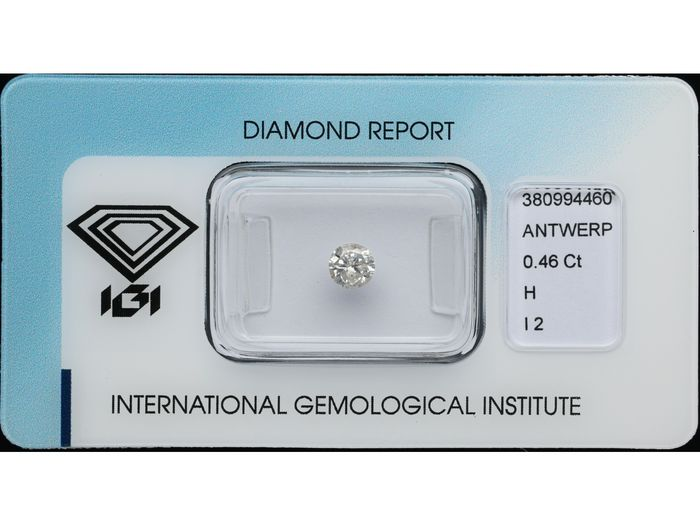 1 pcs Diamant - 0.46 ct - Brillant - H - I2 ***No Reserve Price***
