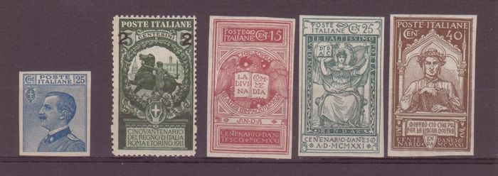 Italy 1908/1922 - Kingdom, small lot of varieties, new with intact gum - Sassone 83e - 99ab - 116f/118f - 205f