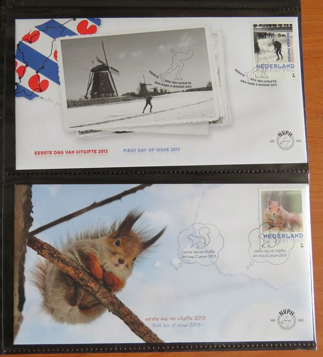 Netherlands 2013/2014 - Two complete years of FDCs - NVPH E664/E705