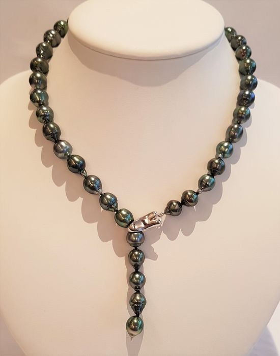 925 Silver - 8.6x11.2mm Peacock Tahitian pearls - Necklace