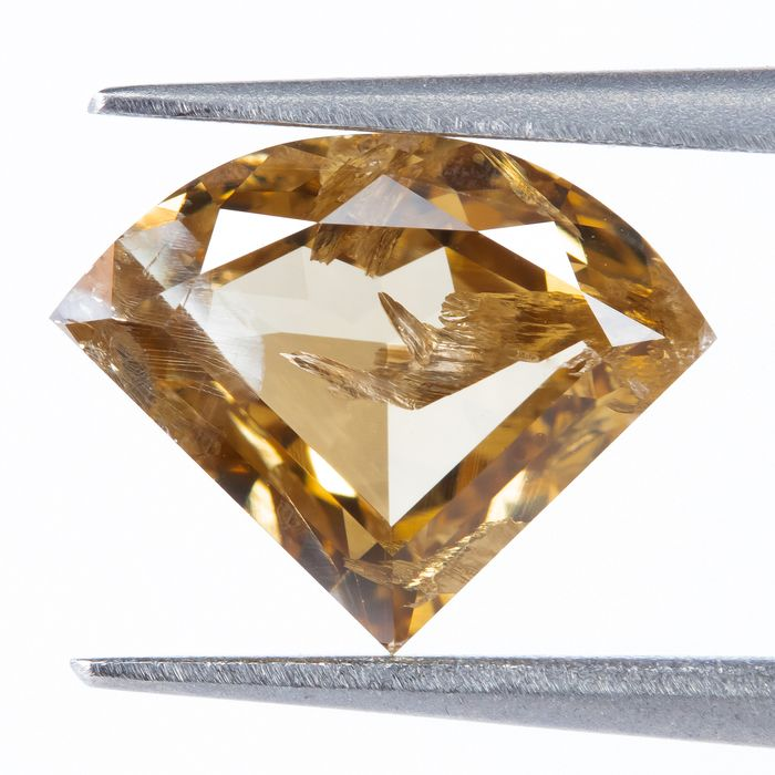 Diamond - 1.30 ct - Natural Fancy INTENSE Brownish Yellow - I2  *NO RESERVE*
