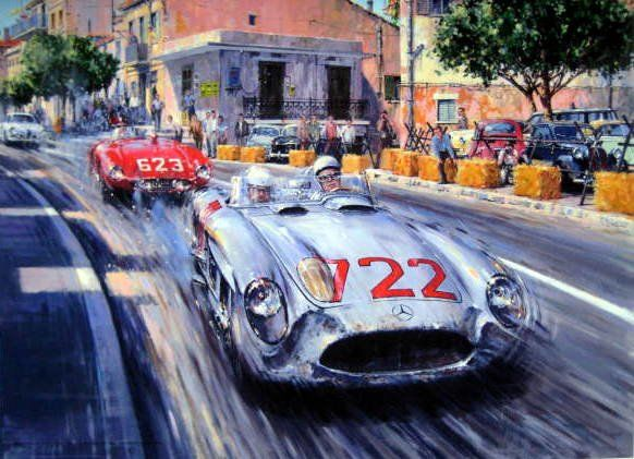 Fine Art Gicleeprint (Artist Proof) - Mercedes-Benz 300 SLR #722 Stirling Moss (Signed)/Denis Jenkinson Winners Mille Miglia - 1955