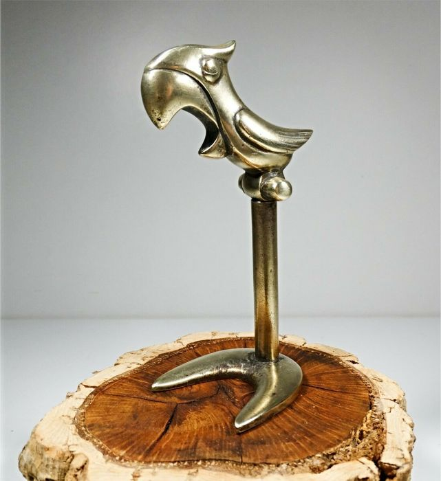 Polly Parrot Stand Cork Screw and Bottle Opener  - Art Deco - Bronze