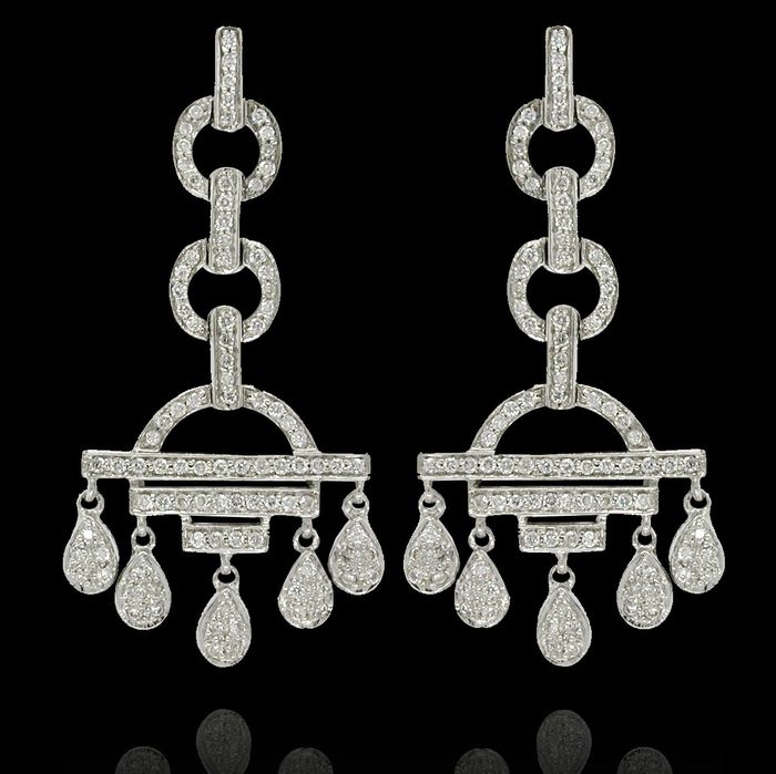 18 quilates Oro blanco - Pendientes - 1.10 ct Diamante