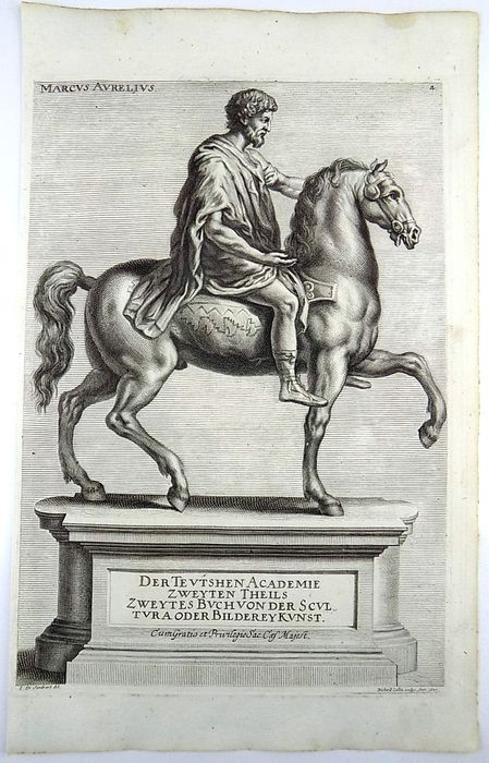 Joh. Sandrart (1606 – 1688);  Richard Collin - Folio copper engraving - Marcus Aurelius on Horseback - 1677