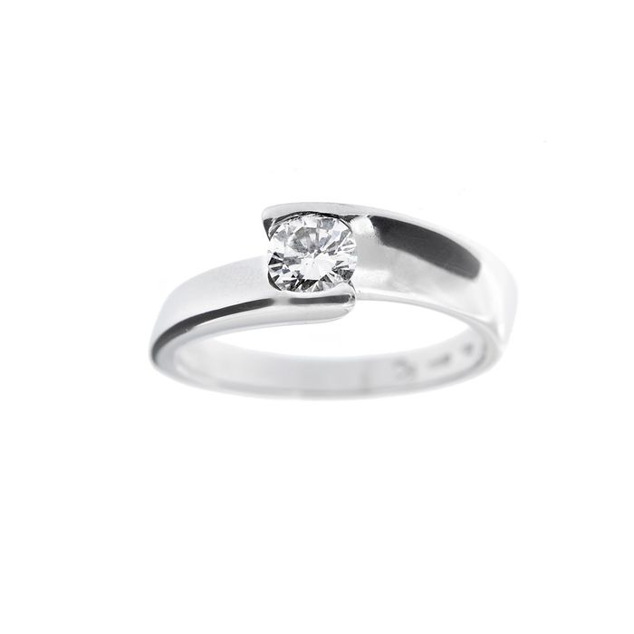 Made in Italy - 18 kt Vittguld - Ring - 0.47 ct Diamant