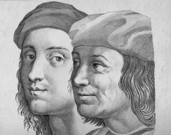 Raphael after, Domenico Cunego, 1782 - Large engraving: Selfportrait of Raphael in the school of Athens (Vatican)