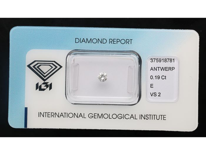 1 pcs Diamante - 0.19 ct - Brillante - E - VS2