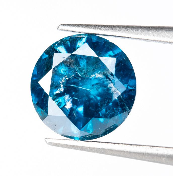 Diamante - 0.86 ct - Fancy INTENSE Blu - I2  *NO RESERVE*