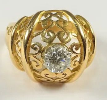 18 quilates Oro, Oro amarillo - Anillo - 0.70 ct Diamante