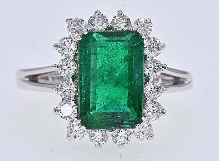 18 quilates Oro blanco - Anillo - 2.39 ct Esmeralda - Diamantes