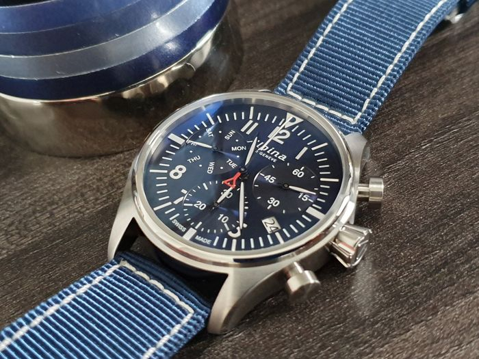 Alpina - Chronograph sporty blue dial  swiss made + free leather strap  - Heren - 2019