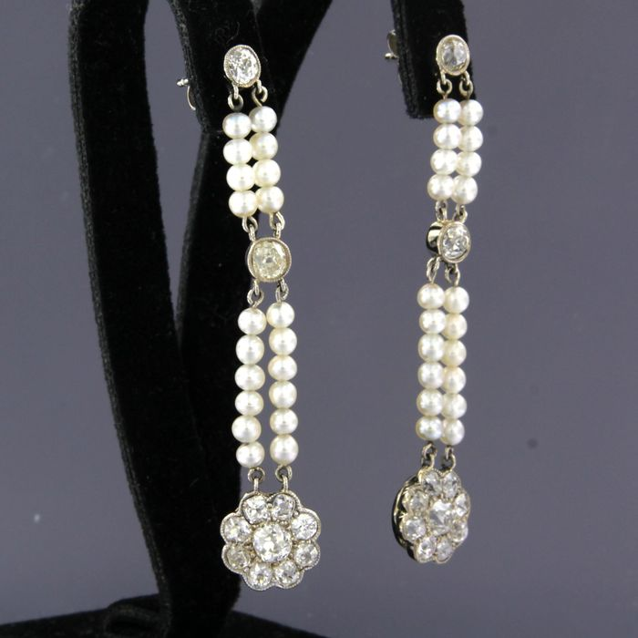 18 quilates Oro blanco - Pendientes - 3.00 ct Diamante