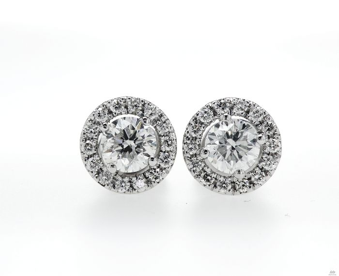 14 kt. White gold - Earrings - 0.97 ct Diamond