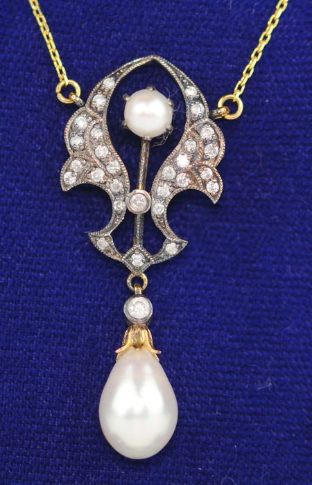 (Victorian) Brilliant-Cut Diamond & Pearl - 9K Oro, Plata - Collar