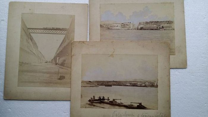 Unknown - Construction works of the Corinth Canal 1881/1882 - 3 pcs antique albumin photosphotos