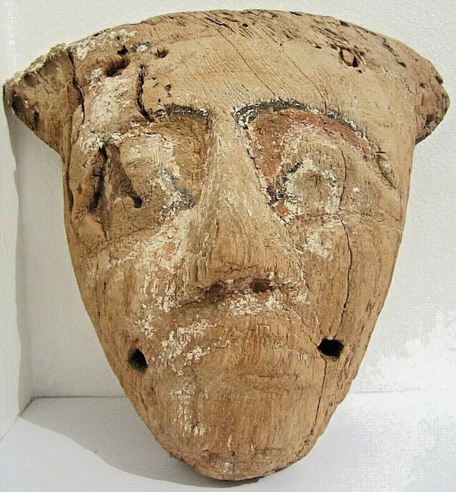 Ancient Egyptian Wood Sarcophagus Mask - 25×23 cm