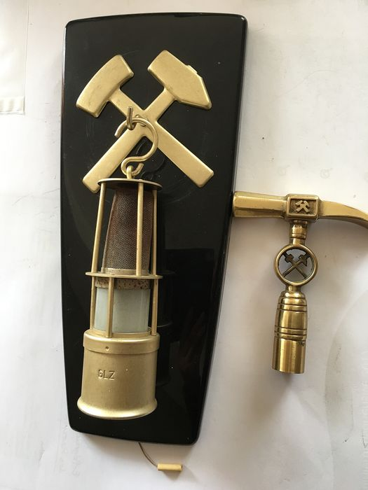 AKA eletric DDR - electric miner's lamp (plastic?) and walking stick (2) - Brass, Plastic