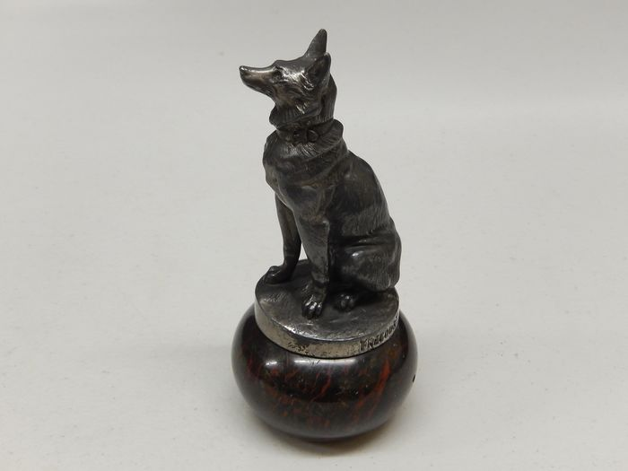 Emblema / Mascota - Vintage French Frecourt Dog Marble Mounted Car Mascot Hood Ornament - 1950-1970