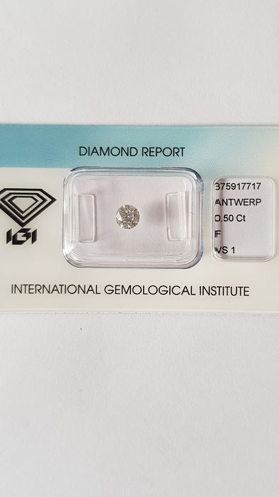 1 pcs Diamant - 0.50 ct - Briljant - F - VS1