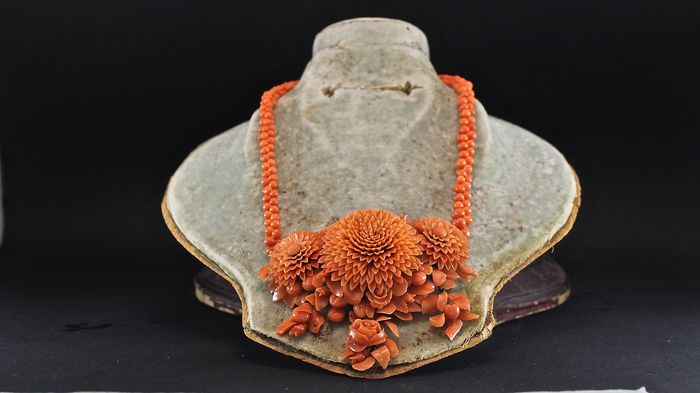 8 kt. Gold, Coral of Sciacca Sicily - Necklace