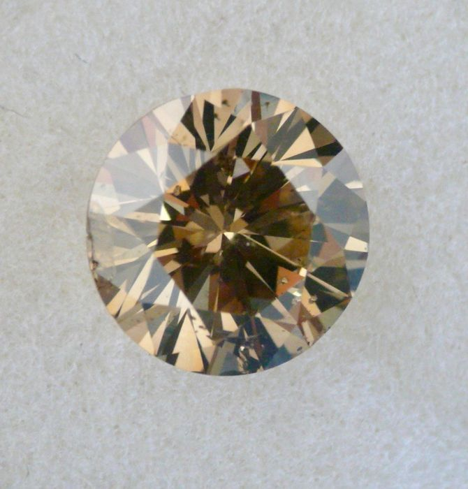 1 pcs Diamant - 1.71 ct - Brillant - Fancy Dark gelblich- braun - SI2