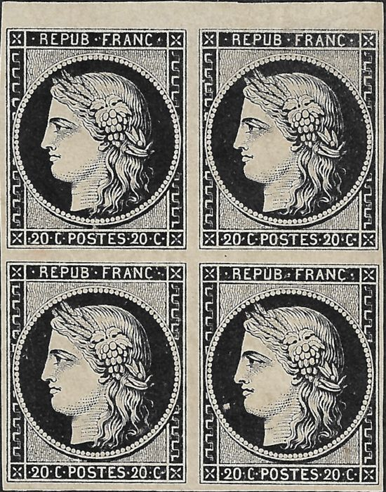 France 1849 - Ceres, 20 cts black, block of 4, superb shade of deep black on white - Maury 3g