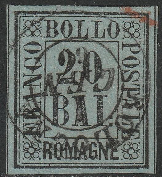 Romangne 1859 - 20 Bajocchi azure grey, with cancellation of Bologna - 1st January 1860 - Sassone N. 9