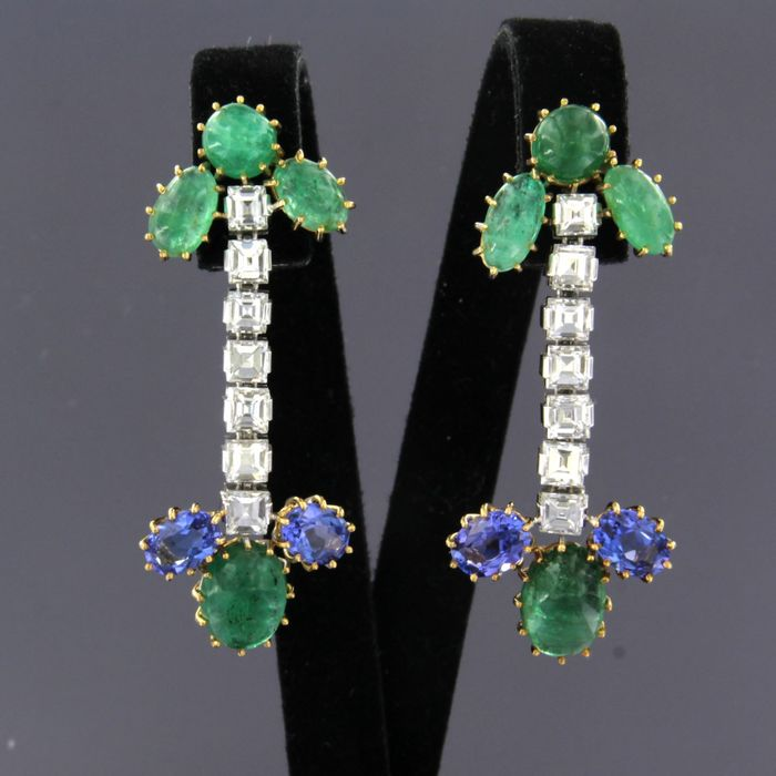 18 carats Or blanc - Boucles d'oreilles - 0.60 ct Diamant - Émeraude, Tanzanite
