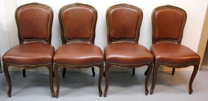 Luxury dining room chairs with artificial leather upholstery (4)