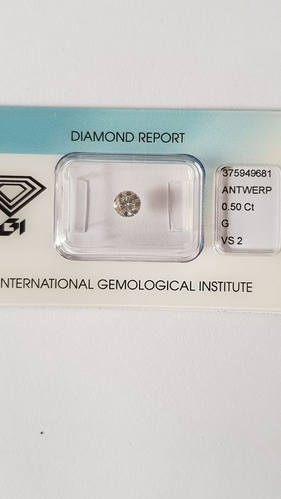 1 pcs Diamond - 0.50 ct - Brilliant - G - VS2