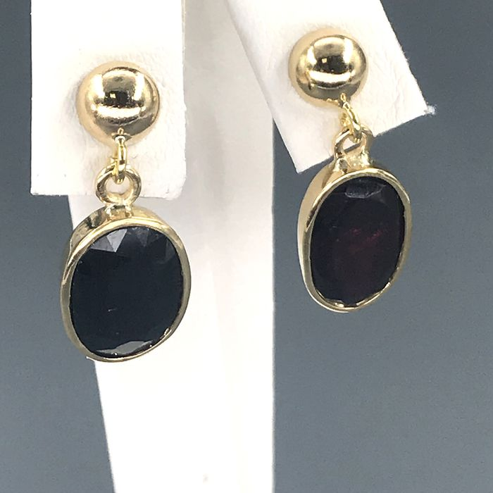 18 kt. Yellow gold - Earrings - 10.00 ct Sapphire - Garnet