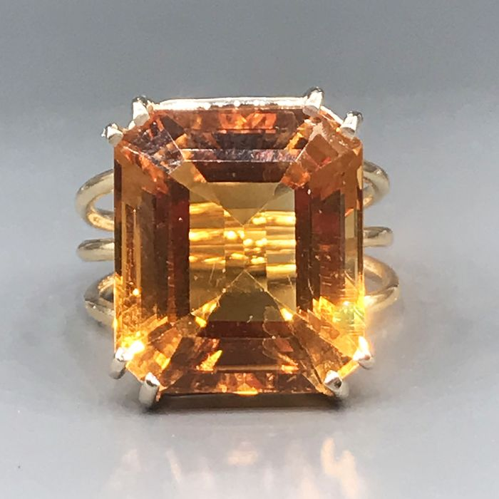 18 kt. Yellow gold - Ring - 15.55 ct Citrine