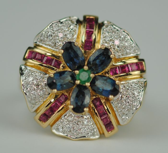 Diamond (0.40ct), Sapphire (1.75ct), Ruby (0.40ct) & Emerald (0.04ct) - 14 kt. Yellow gold - Ring