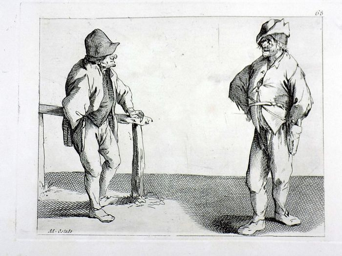 Adriaen van Ostade (1610-1685); Engraving - Two Peasants Chatting - 18th Century impression
