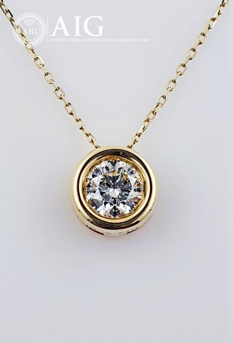 14 kt. Gold - Necklace with pendant - 0.85 ct Diamond