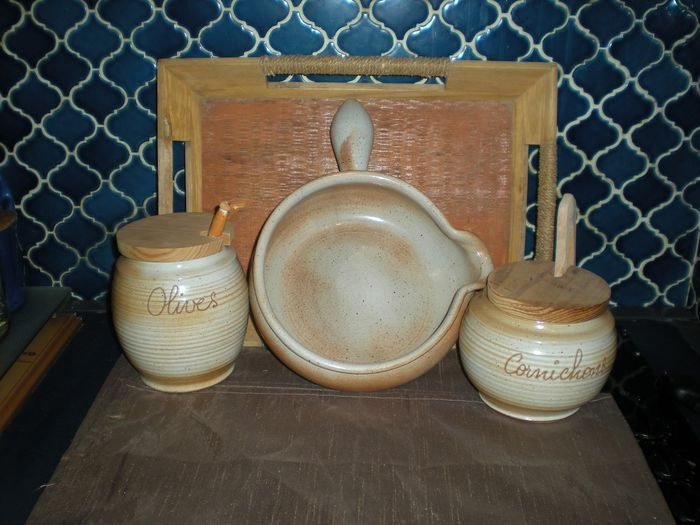 Set of pots with condiments and skillet with tray (4) - GRÉS DU MARAIS