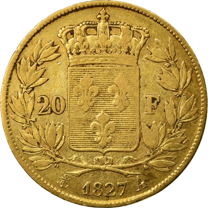 20 Francs 1827-A Charles X - Or