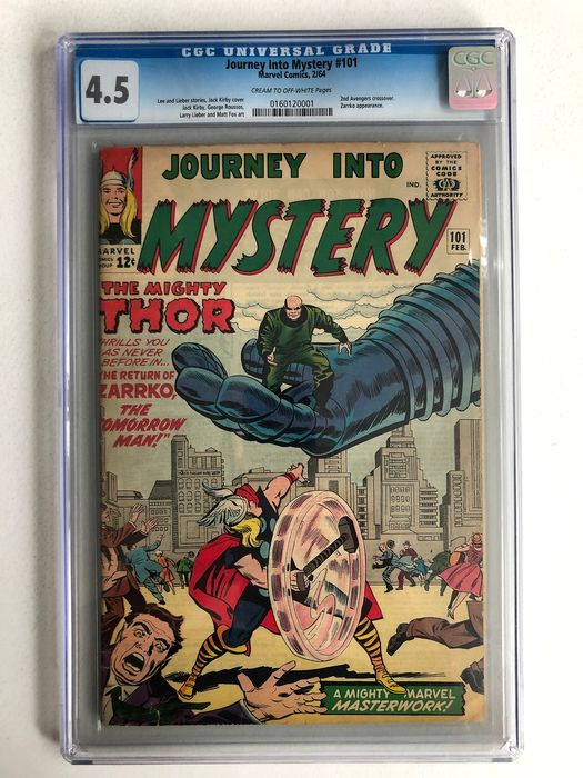 Journey Into Mystery/Thor #101 - 2nd Avengers Crossover - Zarrko Appearance - CGC Graded 4.5 - Mid Grade!!! - Softcover - First edition - (1964)