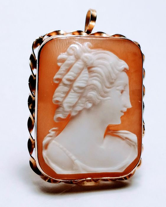 18 kt. Yellow gold - Brooch, Pendant, Cameo