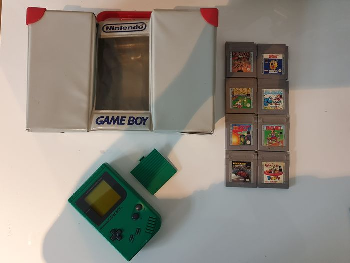 Nintendo DMG-01 PLAY IT LOUD Green +Limited Edition Nintendo Carrier Case Rare Serial#GM3001240 - Gameboy Classic Play It Loud Edition+8 games (62) - In original box