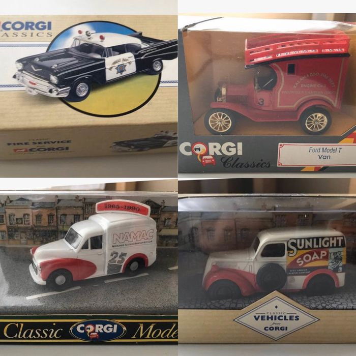Corgi - 1:43 - Chevrolet Bell Air - Highway Patrol, Ford Model T Van , Morris 1000 NAMAC, Ford Popular Van SUNLIGHT - CORGI Classics 97396, 96843, 96863 & C865 / 3