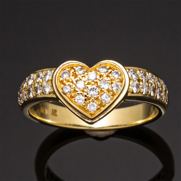 """AR"" - 14 kt. Yellow gold - Ring, heart shape - 1.10 ct Diamond"