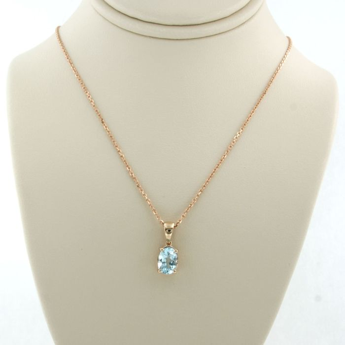 14 kt. Pink gold - Necklace with pendant - 1.00 ct Topaz