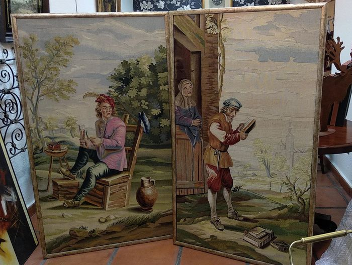 Real Fábrica de Tapices - Pair of tapestries - following David Teniers models