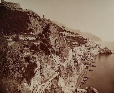 G. Sommer - Amalfi, Italy - Landscape with sailing boats - Albumin photo ca. 1880/1890
