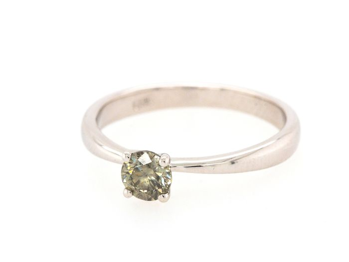14 kt Weißgold - Ring - 0.40 ct Diamant - Fancy Yellowish Grey - SI2 - Kein Mindestpreis