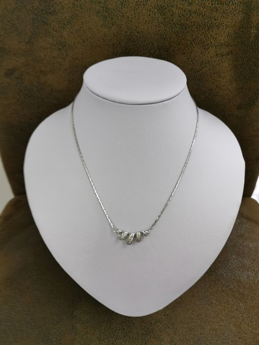 14 kt. White gold - Necklace, Necklace with pendant - 0.10 ct Diamond - Diamond
