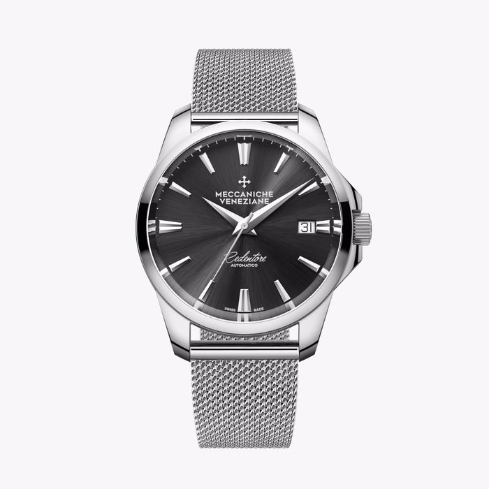 Meccaniche Veneziane - Automatic Redentore 36mm Nero EXTRA Stainless Steel Mesh Band - 1205003 - Unisex - BRAND NEW
