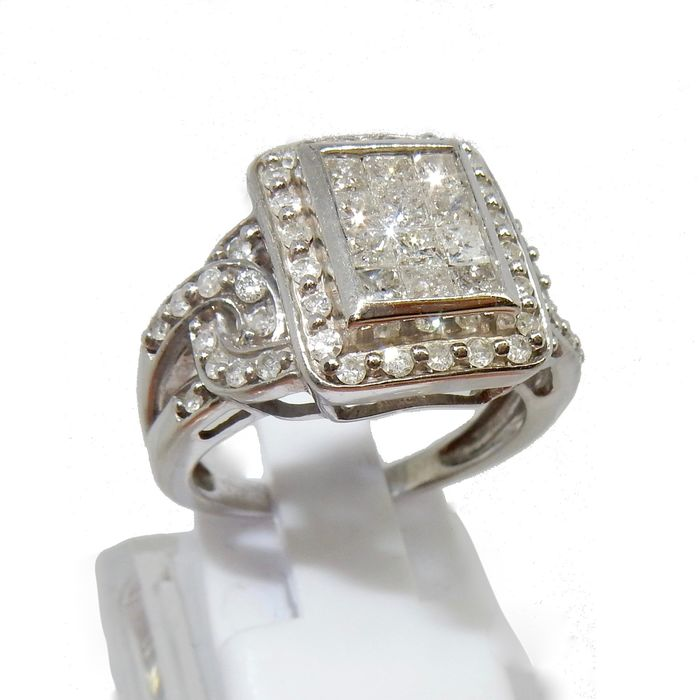 14 karaat Witgoud - Ring Diamant - Diamanten